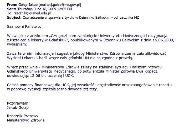 Oświadczenie rzecznika prasowego MZ 2009-06-18
